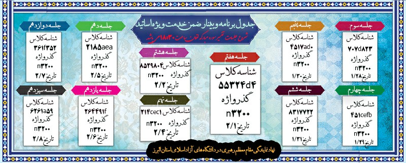 جدول برنامه هفتگی وبینار ضمن خدمت ویژه اساتید(تفسیرسوره مبارکه لقمان)